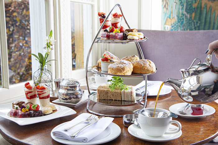 Afternoon tea - selection of sweet and savoury treats in the lounge at Cotswold House