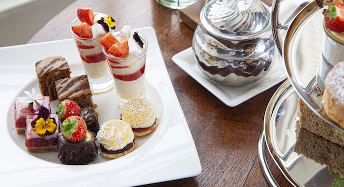 Afternoon tea: selection of bite-sized treats at Cotswold House.